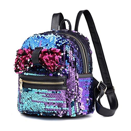 Travel Satchel Blue Backpack Bow blue 1pc Squarex Women Fashion Bag Shoulder Backpack School Sequins Tie UzwW6P1wq
