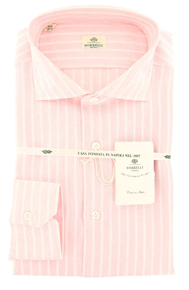 Luigi Borrelli Solid Button Down Spread Collar Linen Slim Fit Dress Shirt
