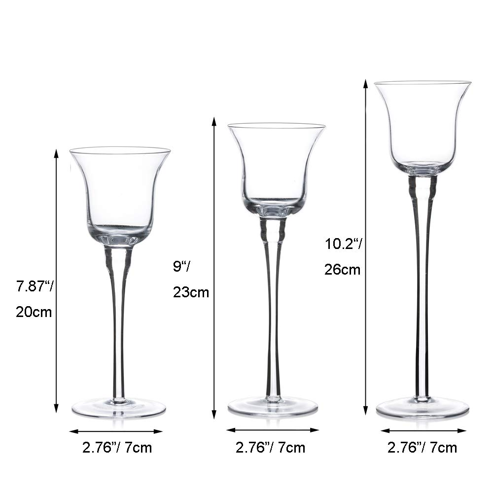 Home Decor Table Settings /& Gifts Set of 3 Candlestick /& Tealight Candle Holders Tall Elegant Glass Stylish Design Parties Ideal for Weddings