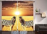Zebra Print Decor Safari Savanna Sunset African Safari Serengeti Tanzania National Park Wild Animals Wildlife Golden Sun Bedroom Living Kids Room Curtain 2 Panels Set, Orange Brown Yellow Beige Black