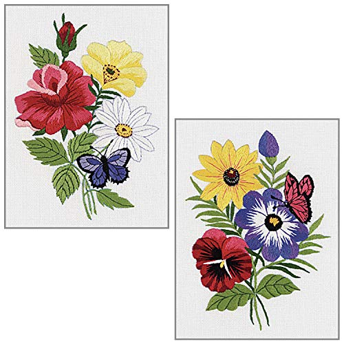 Janlynn - Floral Arrangements - Crewel Embroidery - 2 Kits:
