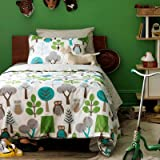Dwell Studio Owls Twin Duvet Set, Sky