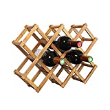Foldable Wooden Wine Bottle Holder - Natural Wine Shelves - 10 Wine Bottle Storage Slots, Wine Rack