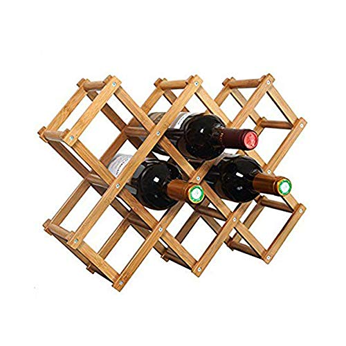 Foldable Wooden Wine Bottle Holder - Natural Wine Shelves - 8 Slots - Holds 10 Wine Bottles, Wine Rack (Holds 10 Bottles) ()