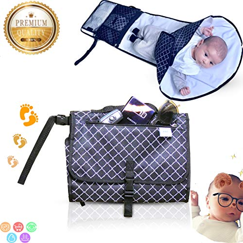 Portable Baby Changing Pad Set - Travel Friendly Baby Bag & 2-in-1 Diaper Changing Pad - Black Compact with 3D White Waterproof Infant Clutch Diaper Mat with Pouches for Diapers & Baby Wipes -