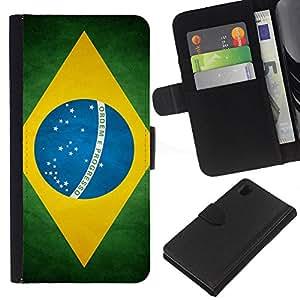 """Be-Star la tarjeta de Cr¨¦dito Slots PU Funda de cuero Monedero caso cubierta de piel Para Sony Xperia Z1 L39 ( Bandera nacional de la Serie-Brasil"""" )"""
