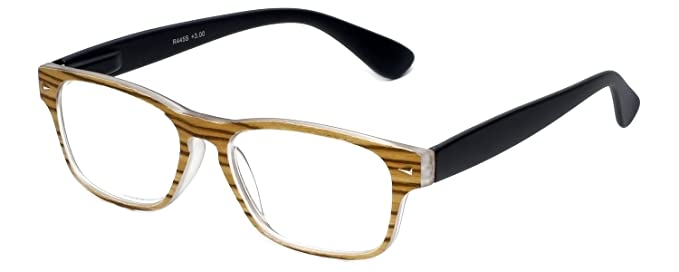 794a2631721 Calabria R445S Vintage Inspired Reading Glasses in Retro Faux Wood  Colorways in Brown Front   Black