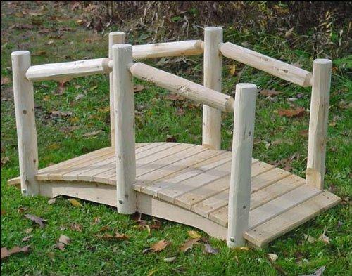 Single Rail Garden Bridge (8' White Cedar Unstained Single Rail Bridge)