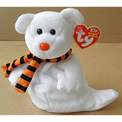 TY Beanie Babies Quivers the Ghost Bear Stuffed Animal Plush Toy - 6 inches tall - White with Orange/Black Scarf: Office Products