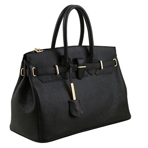 Tuscany Leather - TL Bag - Borsa a mano media con accessori oro - TL141529 (Rosso Lipstick) Nero