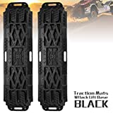 LITEWAY Recovery Traction Tracks with Jack Lift Base- 2 Pcs Traction Mat for Sand Mud Snow Track Tire Ladder 4X4 - Traction Boards.