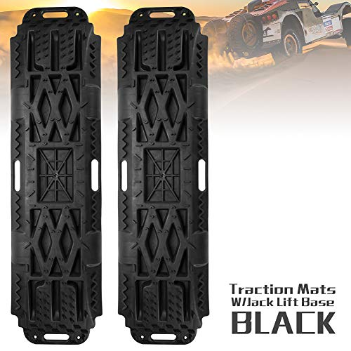 (LITEWAY Recovery Traction Tracks with Jack Lift Base- 2 Pcs Traction Mat for Sand Mud Snow Track Tire Ladder 4X4 - Traction Boards.)