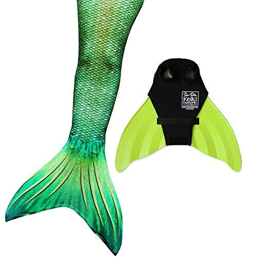 Sun Tails Mermaid Tail + Monofin for Swimming (4- Teen/Adult S (JS 4-6), Lime Rickey - Lime Monofin) -