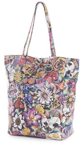 Italian Liatalia Floral Leather Metallic Multicolour Large Shoulder Shopper Hobo Genuine Astrid Soft Tote Leightweight Handbag 11qx5rO
