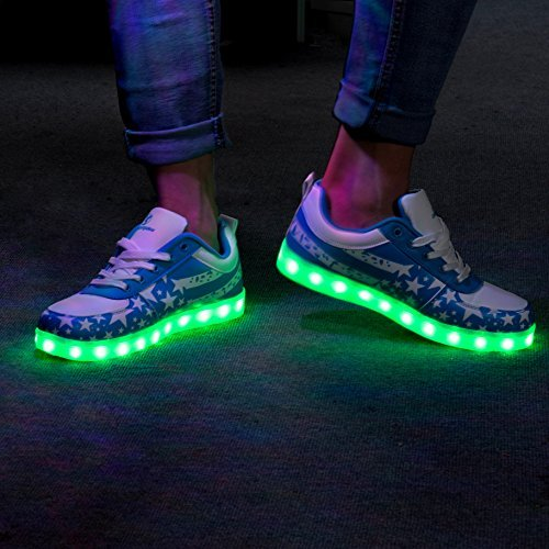 Shinmax LED Schuhe, Leuchtende Sneakers Unisex 7 Farbe USB Aufladen Leutchtschuhe Sport LED Kinderschuhe Für Unisex-Erwachsene Herren Damen mit CE-Zertifikat Blau star