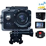 CCdo Wifi 4K Action Camera, Waterproof Sport Camera - Ultra HD 1080P DV Video Sport Cam 16MP & 170° Wide Angle Lens 30M/98ft Underwater Camcorder with App Remote Control Mount Accessories - Black