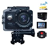 CCdo Wifi 4K Action Camera, Waterproof Extreme Sport Camera - 1080P Helmet Video Camera 16MP & 170 Wide Angle DV Camcorder 30M / 98ft Underwater Camcorder with Remote Control Mount Accessories - Black