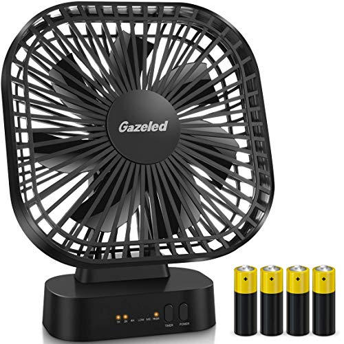 Small Fan Battery Operated, AA Battery Fans, Portable Fans with Timer, 5 Inch Small Electric Fan for Computer, Quiet USB Desk Fans, 3 Speeds, Perfect for Home, Office (4 AA Batteries Included), Black