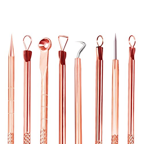 Blackhead Remover Kit,Comedone Extractor Tool,Anti-microbial Double-side,Treatment for Blemish, Whitehead Popping, Zit Removing for Risk Free Nose,Rose Gold, 4 PCS ()