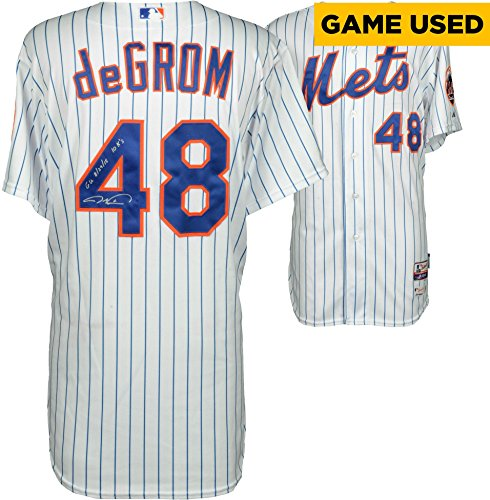 (Jacob deGrom New York Mets Autographed White Game-Used Jersey from August 29th, 2015 with Multiple Inscriptions - Fanatics Authentic Certified)