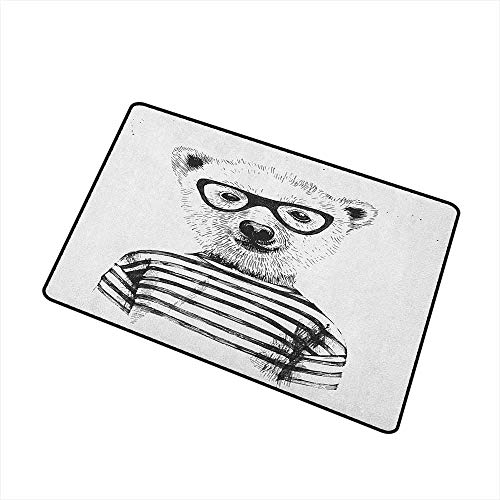 Animal Welcome Doormat Dressed Up Hipster Nerd Smart Male Bear in Glasses Fun Character Animal Art Print All Season Universal 20