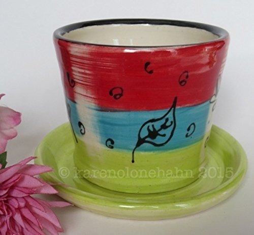- Ceramic Stoneware Planter -Handmade Pottery Planter- Garden Planter-Blue Red Chartreuse Leaf