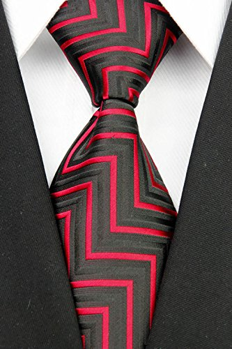 w3dayup mens Classic Plaid Tie Necktie Woven Jacquard Neck Black Red Stripe Ties For Men BBR021