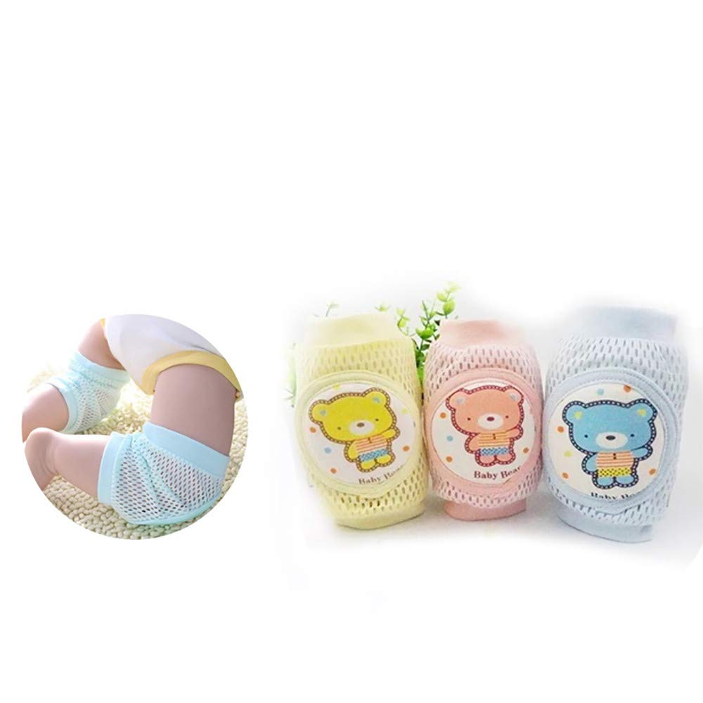 Breathable Baby Crawling Knee Pads, (3-Pairs) Elastic Toddlers Anti-Slip Kneepads, Elbow Crawling Pad - Crawing Protector for Infant