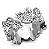 Stainless Steel Crystal Pave Heart Eternity Ring