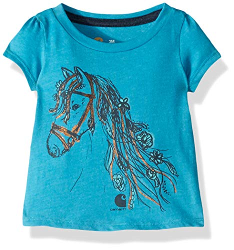 Carhartt Baby Girls Short Sleeve Cotton Graphic Tee T-Shirt, Foil Horse (Barrier Reef Heather), - Girls Graphic Tees Foil