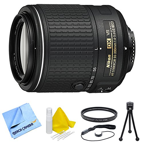Nikon AF-S DX NIKKOR 55-200mm f/4-5.6G ED VR II Bundle - Includes Lens, 52mm Multicoated UV Protective Filter, Lens Cap Keeper, 5
