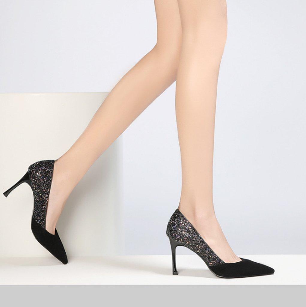Frauen Frauen Frauen Mode Pumpen 2018 Frühling Sommer neue spitz Schuhe High Heels Pailletten Gericht Schuhe a53245