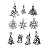 HOUSWEETY 40Pcs Mixed Silver Tone Christmas Motif Charms Pendants