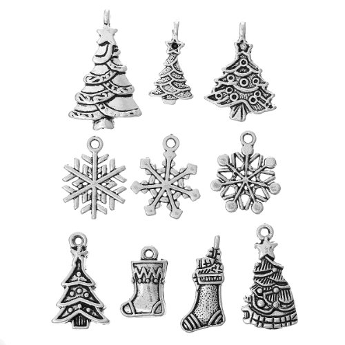 (HOUSWEETY 40pcs Mixed Silver Tone Christmas Charms Pendants Snowflakes Trees Jingle Bells Stockings etc)