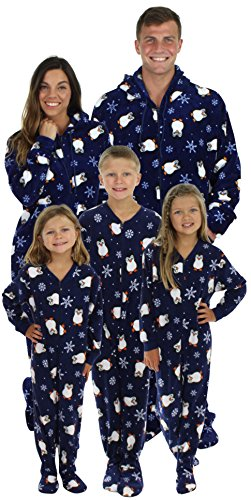 SleepytimePjs Family Matching Penguin Onesie PJs Footed Pajamas Kid's Navy Blue Penguins – (Girls Size 12 Christmas Pajamas)