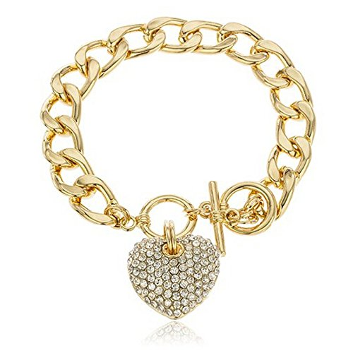 FIged Gold Tone Clear Iced Out Heart 8.5 Inch Cuban Link 12mm Toggle Bracelet