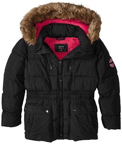 U.S. Polo Assn. Big Girls' Faux Fur Trimmed Hooded Bubble Parka, Black, 10/12