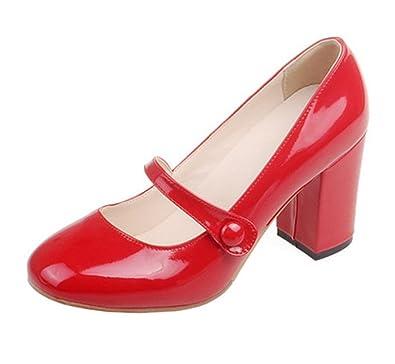 UH Damen Lack High Heels Mary Jane Pumps mit Blockabsatz 8cm Absatz Bequeme Work Offce Schuhe