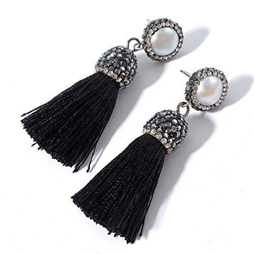 Black Pearl Rhinestone - Women's Dangle Drop Short Tassel Earrings with Shell Pearl Black Rhinestone Top