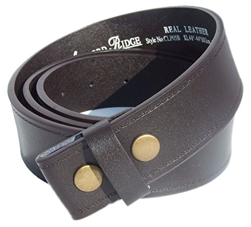 Mens Real Leather Snap On Belt Strap-Brown-XL: 40'-44'