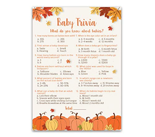 PUMPKIN Baby Shower Game, BABY TRIVIA Game - for 25 Guests - FALL Baby Shower Games, Rustic GENDER NEUTRAL Baby Shower Games, Little Pumpkin Autumn Fall Baby Halloween babies party game, SKU G330-TRV