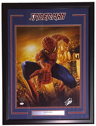 Stan Lee Marvel Comics Signed & Framed 16x20 Spiderman Metallic Photo JSA + Stan Lee Hologram