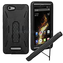 BLU Vivo XL (V0030UU) Premium Rugged Tough Armor Heavy Duty Kickstand Case (HVD Black)