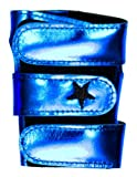 Metallic Power Up Gymnastics Wrist Supports - Shimmer Leather, Blue Metal, S