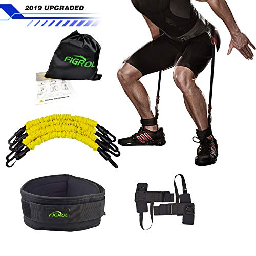 FIGROL Vertical Bounce Trainer Leg Resistance Bands Set-Leg Strength Muscle Workout - for Basketball Football Taekwondo Yoga Boxing Explosive Power - Belt Training Resistance