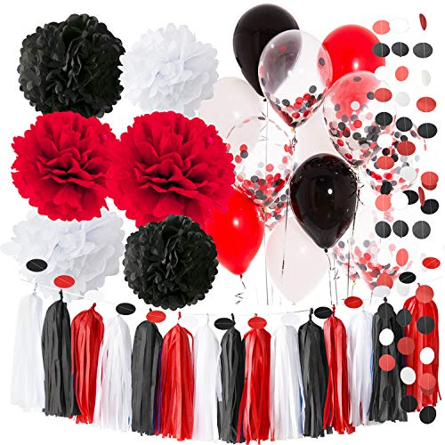 Pirate Party/Minnie Mouse Party Supplies White Black Red Balloons Pirate Birthday Party Decorations/First Birthday Girl Decorations Tissue Paper Pom Pom Minnie Mouse Birthday Party Decorations