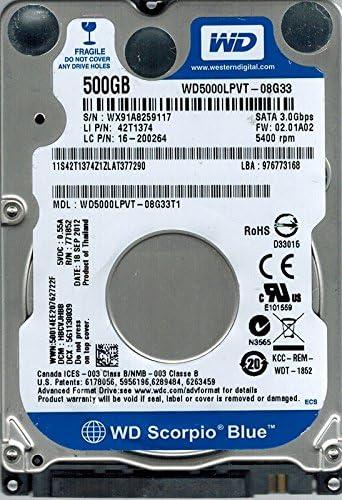 HBCVJHBB Western Digital WD5000LPVT-08G33T1 500GB DCM