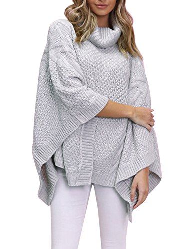 Simplee Womens Oversized Turtleneck Pullover Sweater Winter Knitted Poncho Capes,Light Gray,One Size (Ribbed Poncho)