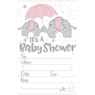 Pink Elephant Girl Baby Shower Invitations (20 Count...