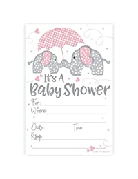Pink Elephant Girl Baby Shower Invitations (20 Count) with Envelopes BOBEBE Online Baby Store From New York to Miami and Los Angeles